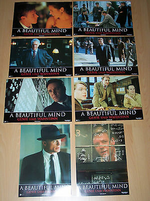 A BEAUTIFUL MIND - set of 8 lobby cards ´02 - RUSSELL CROWE Jennifer Connelly