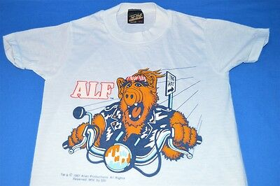 vintage 80s ALF BIKER MOTORCYCLE ALIEN LIFE FORM TV SHOW t-shirt YOUTH  10/12 M
