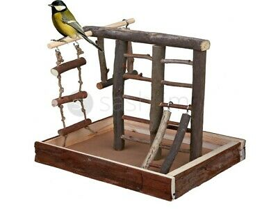 Natural Wooden Bird Playground Budgie Canary Ladder Swing Perch Pet Fun Small