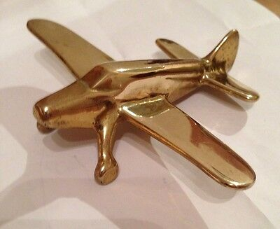 Brass desk / paperweight model aeroplane , Possibly military aircraft