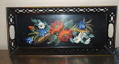 Vintage Hand Painted Tole Serving Tray Floral w/Handles Oblong Dine Decor
