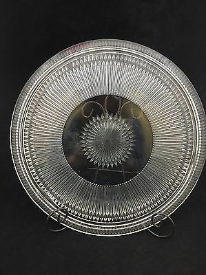 """Antique Clear Pressed Glass Starburst? Cake 12.5"""" Plate Footed"""