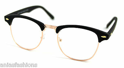 Black Matt & Gold Frames Clear Lens Glasses Clubmaster Style Vintage Retro