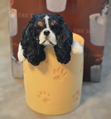 NEW E&S Imports King Charles Cavalier Spaniel,Tri #46515-19 Pencil Cup Holder
