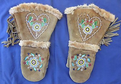 Canada First Nations Inuit Gloves Animal Hide, Fur,  Beautiful Beaded Design