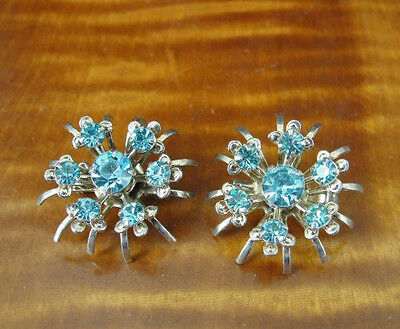 Vintage Pair of Blue Rhinestones Gold Plate Dainty Scatter PIN Pins