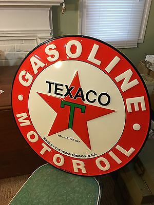Texaco Gasoline Motor Oil~EMBOSSED Round METAL SIGN~gas & oil advertising~USA