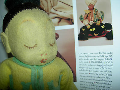 RARE antique, early 1921, LENCI jtd. felt, Oriental opium smoker character doll