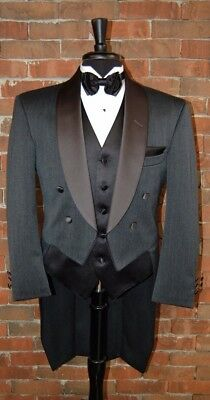 MENS 40 R CHARCOAL GREY WOOL SHAWL TAILS TUXEDO JACKET FULL DRESS  by  LORD WEST