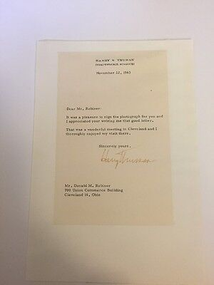 President Harry S. Truman November 22, 1963 Typed Letter Signed - Day JFK Shot