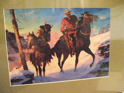 Canadian Mountie Rcmp  Nwmp Officer & Indian Scout  A Frigerg Dry Mount Print