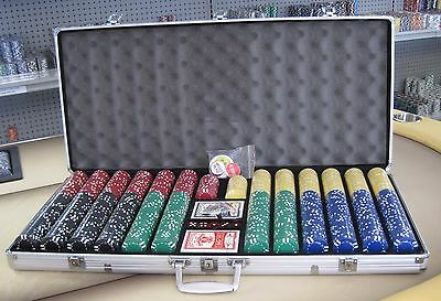 1000 Chips Poker 6 Stripe Chip Set W/ Dice Decks Dealer Kit & Silver Case Keys *