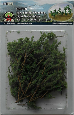 JTT Scenery Products - Wire Foliage Branches Light Green (Pack of 60) Model Rail