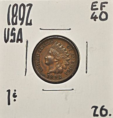 1892 United States One Cent EF-40