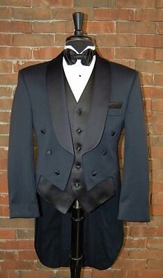 MENS 42 L NAVY BLUE WOOL SHAWL TAILS TUXEDO JACKET FULL DRESS  by  AFTER SIX