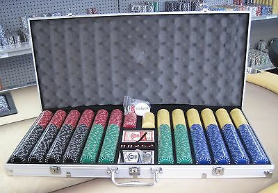 1000 Chips Poker Diamond Chip Set W/ Dice Decks Dealer Kit & Silver Case Keys *