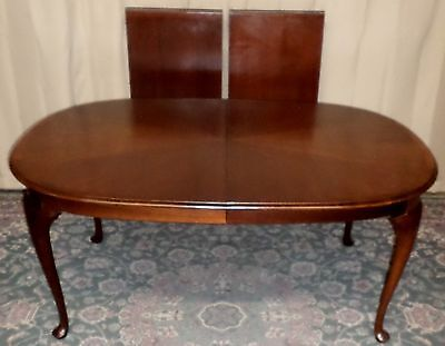 BANDED MAHOGANY DINING TABLE Queen Anne Style VINTAGE
