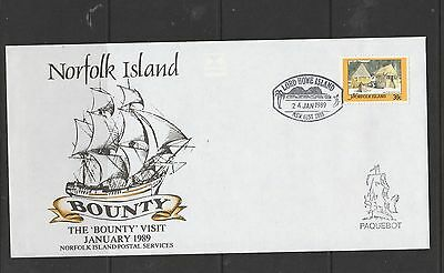 Norfolk island 1989 Bounty visit, 39c cancelled Lord Howe island & paqueboat cac