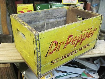 DR PEPPER WOODEN CASE CRATE soda pop wood carrier BOX ST JAMES MN ORIGINAL