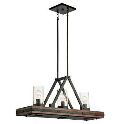 Kichler Colerne Linear Chandelier 6Lt, Auburn Stained, Clear Seeded - 43433AUB