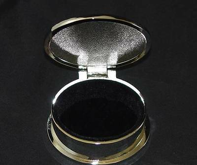 Oval Silver Tone Trinket Jewelry Curio Box Hinged Lid Metal with felt lining NEW