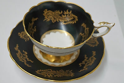 Vintage Black and Gold Dragon Footed Tea Cup and Saucer Royal Stafford