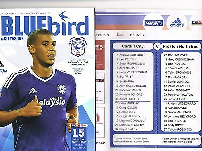 Cardiff City v Preston North End 16/17 + Official Teamsheet