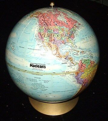 "1979 Maclean's Magazine Replogle Embossed 12"" Diameter World Globe w/ Metal Base"