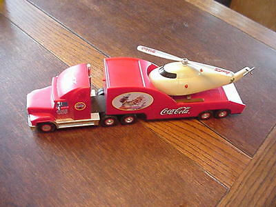 Coca-Cola Christmas Semi Truck W/Helicopter Battery Operated Works, Lights