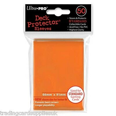 50 Ultra Pro Trading Card Sleeves - Standard Orange Deck Protectors.