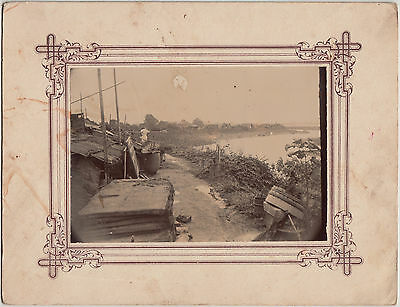 Antique Photo / Shacks by River / Japanese / c. 1910