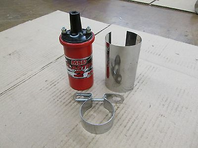 MSD Blaster 2 High Voltage Ignition Coil Kit 8202 with chrome cover and bracket