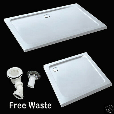 Aica 40mm slimline shower enclosure tray rectangle square stone tray free waste