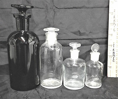 FOUR GLASS LAB VESSELS doctor laboratory apothecary science vintage chemistry A1