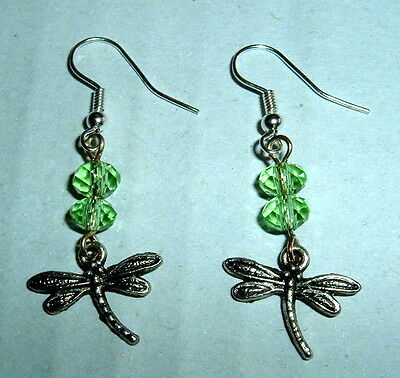 CRYSTAL Silver Plated DRAGONFLY EARRINGS NIB SILVER PLATED FRENCH HOOKS INSECT