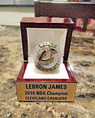 LEBRON JAMES 2016 NBA CHAMPIONS 18K RING & Rosewood Display un signed CAVALIERS