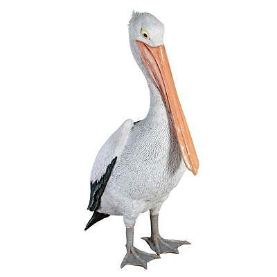 "Large Oceanside Pelican Sculpture Patio Poolside Statue 34"" Tall"