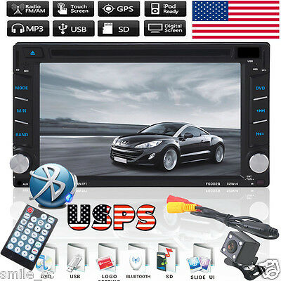 GPS Navigation Double 2 DIN Car Stereo DVD Player Bluetooth Radio IPod W/Camera