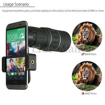 16x Optical HD Universal Camping Hiking Telescope Clip-on Lens For Cell Phone