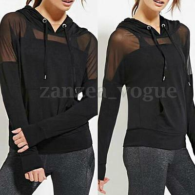 Women Casual Hoodies Sheer Long Sleeve Mesh Club Tops Sweats Shirt Blouse Hooded