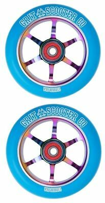Grit Scooter Wheels Pair - 110Mm Blue Neochrome - Bearings Included