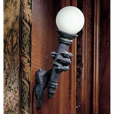 Gothic Dragon Talon Torchiere Globe Lamp Medieval Electric Wall Sconce