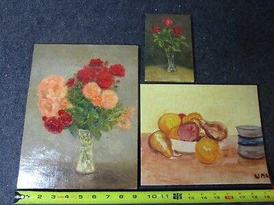 lot of 3 small vintage original art paintings on board flowers and fruit stills