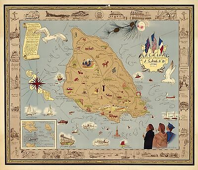1955 PICTORIAL Map Mackinac Most Historic Spot Michigan historical POSTER 9900