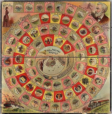 1890 PICTORIAL gameboard journalist Nellie Bly trip around world POSTER 8320002