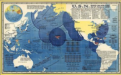 1938 pictorial map U.S. Navy Ships Bases Men As of January 1938 POSTER 8828000