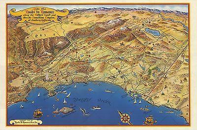 1952 PICTORIAL Ride Roads To Romance Golden Coast California POSTER 9944002