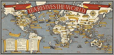 1940 map celebrates production journey TEA revives the world 1940 POSTER 6895