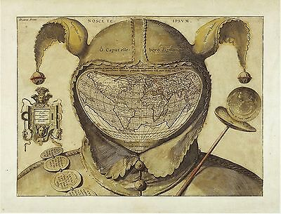 Fool's Cap Map of the World 1580-1590 UNKNOWN ORIGINS Orontius Fineus POSTER