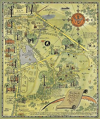 1927 PICTORIAL map Colgate University Campus NY New York Environs POSTER 9078